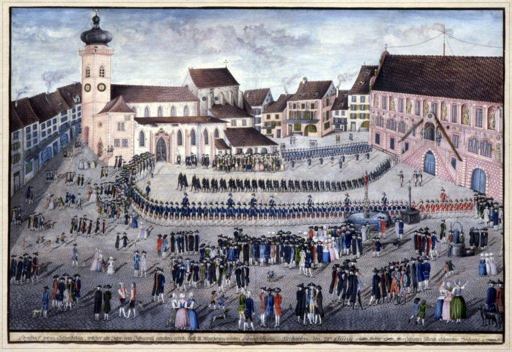 Collections musée Historique - Cérémonie du serment annuel ou Schwörtag, gouache de Jean-Ulrich Schmerber(©Kempf)